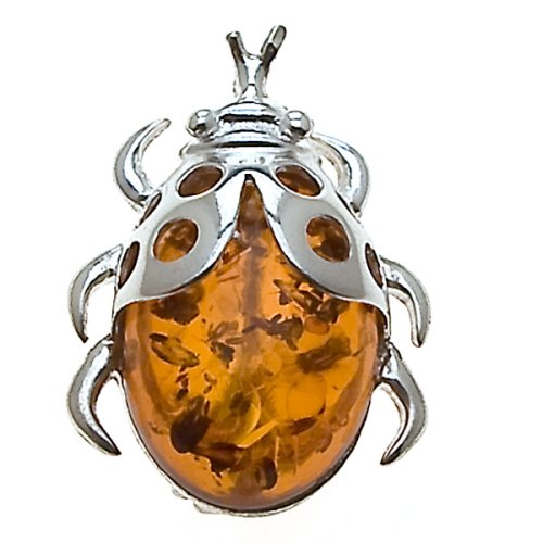 Certified Genuine Honey Amber and Sterling Silver Ladybug Pin