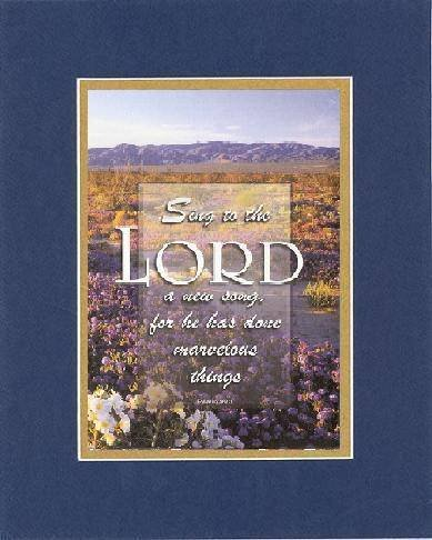 Sing To The Lord . . . 8 X 10 Inches Biblical/Religious Verses Set In Double Beveled Matting (Blue On Gold) - A Timeless And Priceless Poetry Keepsake Collection front-1003531