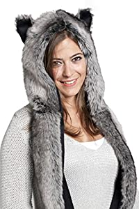 Faux FUR Animal Hats Hoods Gray Wolf Snow Winter White Ski with Mittens Unisex Gloves