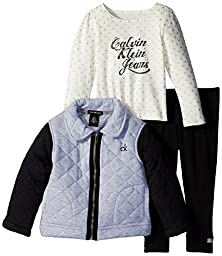 Calvin Klein Little Girls\' Quilted Jacket with Tee and Pants, Gray, 6