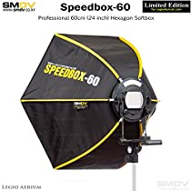 SMDV DIFF60 Speedbox Diffuser-60 - Professional 23-Inch Rigid Quick Folding Hexagonal Softbox for Speedlight Flash (Black)