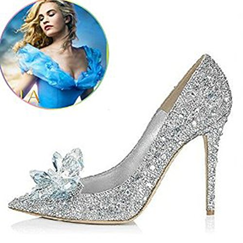 high heel silver shoes - Glass Slipper Princess Crystal Shoes Adult Size