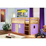 Lit surlev d'enfant bois de pin massif verni en couleur naturelle - violet/beige - SHB/10/1035