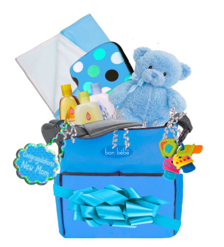 Bon Bebe, Baby Boy Deluxe Diaper Bag Gift Basket, 24 Piece, Color: Blue front-1066292