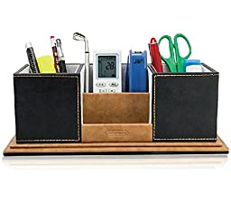 GLODEALS Leather Multi-function Desk Stationery Organizer Storage Box Pen/Pencil ,Cell phone, Business Name Cards, Note Paper, Remote Control Holder Organizer Holder (Black)