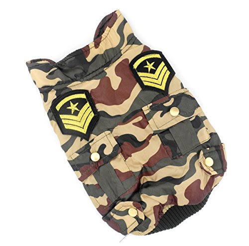 [ESINGYO Pet Puppy Apparel Small Dog Cat Clothes Camo Military Uniform Trench Jacket Coat Water-resistant Army Green] (Army Dog Costumes)