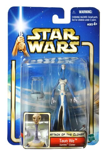 """Hasbro Year 2002 Star Wars """"Attack of the Clones"""" Series 4 Inch Tall Action Figure - Kamino Cloner TAUN WE with Clone Chamber"""