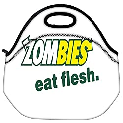 Snoogg Zombies Eat Flesh Travel Outdoor Carry Lunch Bag Picnic Tote Box Container Zip Out Removable Carry Lunchbox Handle Tote Lunch Bag Food Bag For School Work Office