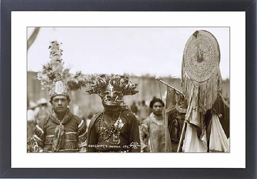 [Framed Print of Native Dancers, Mexico] (Aztec Dancers Costumes)