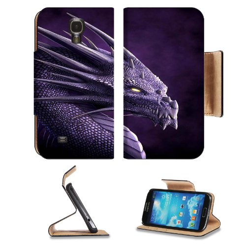 Purple Dragon Artwork Abstract Majestic Samsung Galaxy S4 Flip Cover Case With Card Holder Customized Made To Order Support Ready Premium Deluxe Pu Leather 5 Inch (140Mm) X 3 1/4 Inch (80Mm) X 9/16 Inch (14Mm) Luxlady S Iv S 4 Professional Cases Accessori