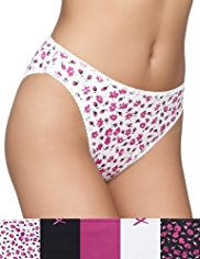 5 Pack Cotton Rich Marl Floral High Leg Knickers