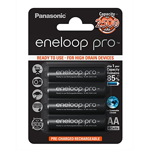 Panasonic Eneloop Blister de 4 piles rechargeables LR06-AA Noir