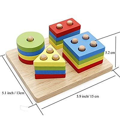 Rolimate Wooden Baby Shape & Color Recognition Colorful Geometric Board Stack & Sort Puzzle Toy by Rolimate that we recomend personally.