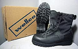 Mens Size 12.5 Regular Gore-tex Wellco Black Combat Boots Jungle Boots Army Tactical Hiking Hot Weather Cordura Waterproof liner Speedlace Police SWAT