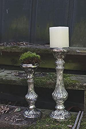 Faux Mercury Glass Pillar Candle Holder Antique Silver Finish Elegant Classical Design Country Home Décor by BCD