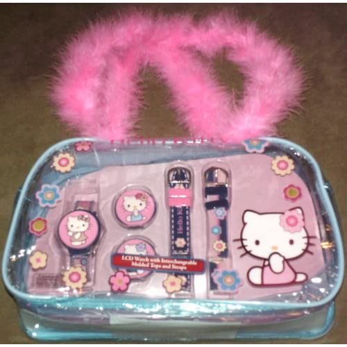 Hello Kitty Digital Wrist Watch with 3 Straps and 3 Molded Tops