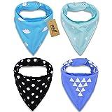 iZiv(TM) Baberos del Bebé - Paquete de 4 Diseños Pañuelo con Snaps Ajustables, TPU Impermeable Guarnición para niño 0-2 años (Color-1)
