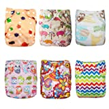 Alva Baby 6pcs Pack Pocket Washable Adjustable Cloth Nappies + 12 Inserts (Girl Color) 6DM09