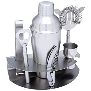 7pc Stainless Steel Cocktail Bar Set by Fine European Stuff
