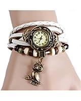 Montre Bracelet Hibou Chouette PU Cuir Quartz Tressé Rétro Bijoux Femme Watch