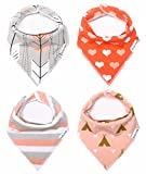 "Baby Bandana Drool Bibs for Girls 100% Organic Cotton With Snaps and Back Pocket (4-Pack) by American Kiddo for Drooling and Teething Babies and Toddlers - ""Sweetheart"" Gift Set"