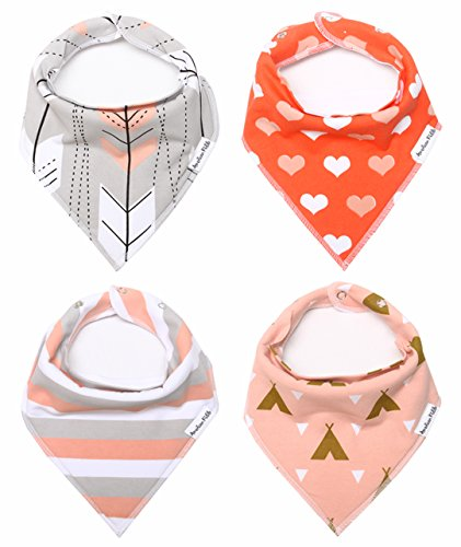 Baby Bandana Drool Bibs for Girls 100% Organic Cotton With Snaps and Back Pocket (4-Pack) by American Kiddo for Drooling and Teething Babies and Toddlers -