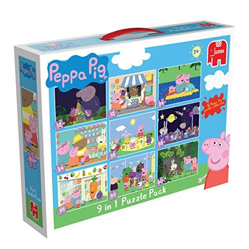 Jumbo - Peppa Pig - 9 Puzzles en 1 Boite- 12, 24, 35 et 50 Pièces - 23x17cm