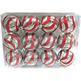 Queens Of Christmas WL-ORN-12PK-CL-RSG 12 Pack Ball Ornament With Red, Silver And Gold Swirl Design, Clear