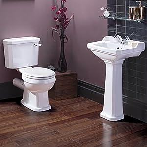 ensemble de salle de bains toilettes wc cuvette abattant r servoir lavabo colonne c ramique. Black Bedroom Furniture Sets. Home Design Ideas