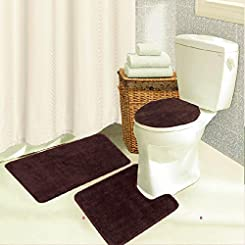 Brandy 3 Piece Bathroom Rug Set, Bath Mat, Contour, Seat Cover - Chocolate
