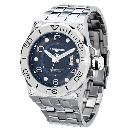 Jorg Gray JG9600-14 - Reloj analógico de cuarzo para hombre con correa de acero inoxidable, color plateado