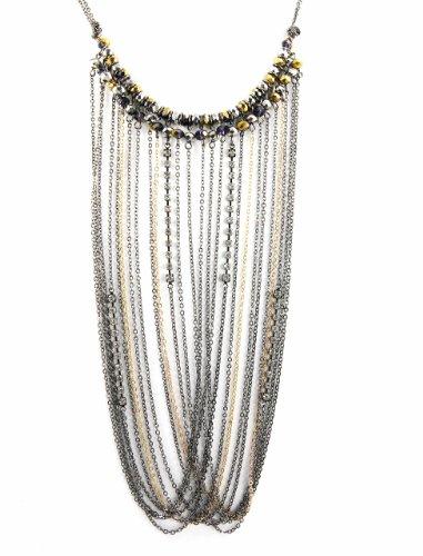 "Ali Khan Necklace, 18"" Gold-Tone And Hematite-Tone Chain & Rhinestone Drape Fringe Frontal Necklace"