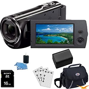 Sony HDR-CX290/B HDRCX290/B CX290 HDRCX290 High Definition Handycam Camcorder with 2.7-Inch LCD (Black) Essentials Bundle with 16GB SD Card, High Capacity Spare Battery, Deluxe Carrying Case, LCD Screen Protectors, and Lens Cleaning Kit