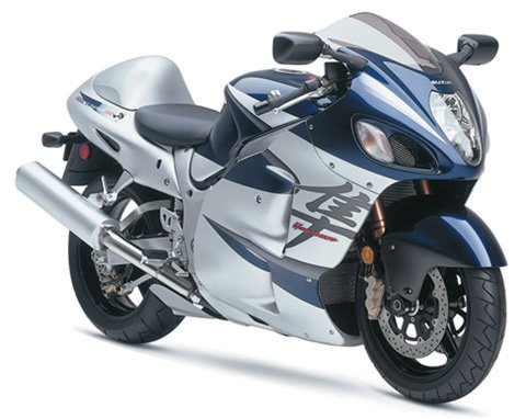 New Ray Toys Street Bike 1:12 Scale Motorcycle Hayabusa 1300 Silver/Blue 2005