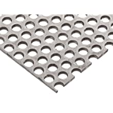 "304 Stainless Steel Perforated Sheet, Unpolished (Mill) Finish, Annealed, 0.12"" Thickness, 11 Gauge, 12"" Width, 12"" Length, Staggered Holes, 0.375"" Center to Center"
