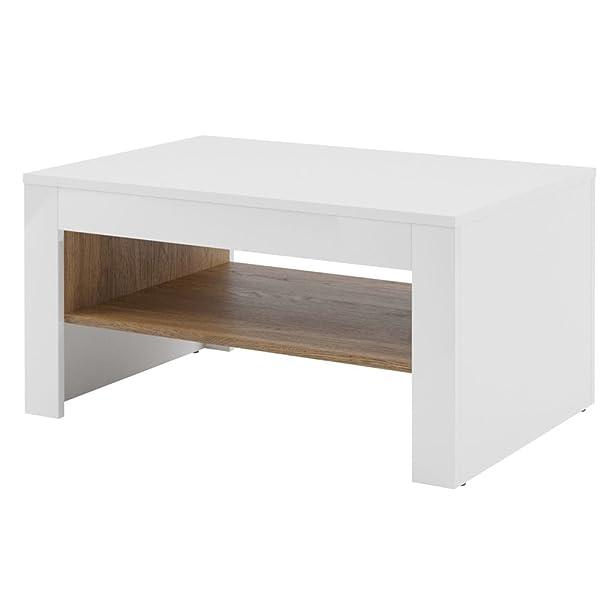 Tavolino da salotto elegante bianco e tinta noce walnut cm L90xH46xP60 Belis 41