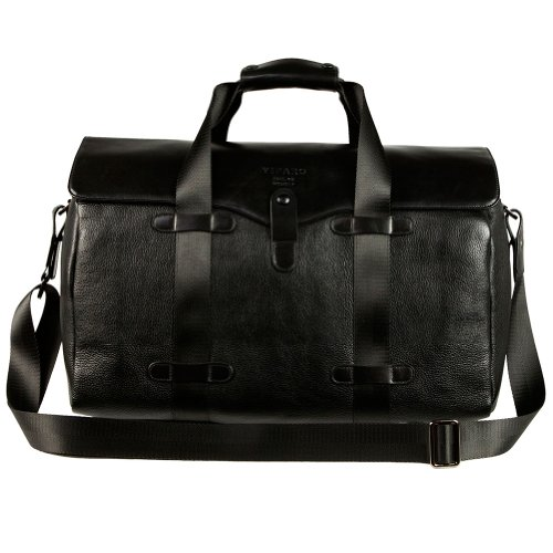 VIPARO Black Leather Everyday Carry All Structured