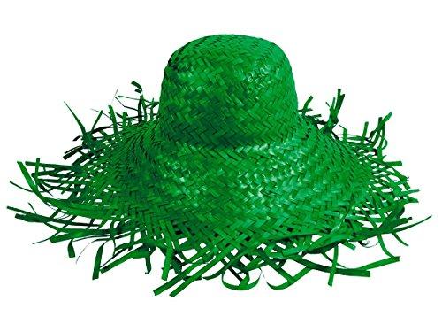 Cappello di paglia, paglietta in stile hawaii unisex in paglia accessorio carnevale travestimento festa tempo libero beach spiaggia mare protezione sole, SH-20-31:SH-25 verde