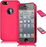 Bastex TPU Wrap Up Case for iPhone 5, 5G, 5S, 5GS - Pink Skin Cover + Built In Screen Protector