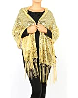 Women's Sheer Mesh Sequin Evening Wrap Shawl w/Fringe Party Scarf