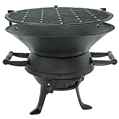 First4spares Outdoor Fire Pit BBQ Basket Garden Barbeque Grill & Stand (Cast Iron with Handles)