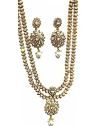 Shingar Jewellery Antique Gold Plated Polki Kundan Look Two Line Necklace Set For Women