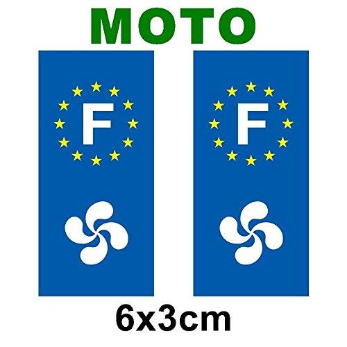lot de 2 sticker plaque immatriculation moto logo r gionaux croix basque. Black Bedroom Furniture Sets. Home Design Ideas