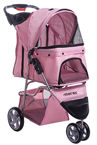 Merax Pink Pet Stroller Dog Cat Folding Travel Carrier Three Wheels (Light Pink)