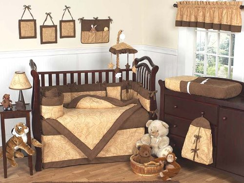 JoJo Designs 9-Piece Baby Crib Bedding Set - Camel and Chocolate Paisley