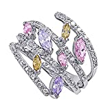Rhodium Plated Sterling Silver Wedding & Engagement Ring Multi-color Ladies Ring 20MM ( Size 5 to 9)