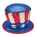Jacobson Hat Company Men's Red White and Blue Sequin Top Hat with Stars, Multi, One Size