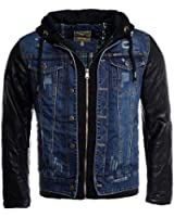 Young & Rich 2in1 jeans jacket blue black lined hooded for men vintage destroyed used double layer look composition leather sleeve