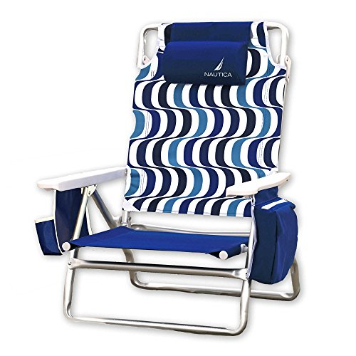 Nautica Lightweight 5 Position Recliner Folding Backpack Beach Chair with Cup Holder, Ipanema Blue