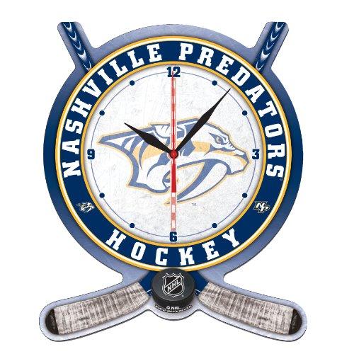 NHL Nashville Predators High Definition Clock - Hockey Stick and Puck